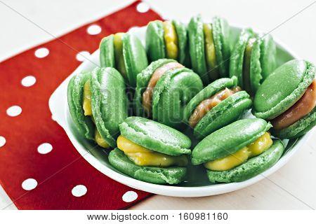 Green Almond Meringue Cakes With Lemon, Strawberry Kurd