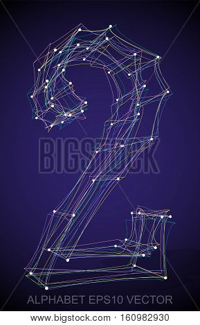 Abstract illustration of a Multicolor sketched 2 with Transparent Shadow. Hand drawn 3D 2 for your design. EPS 10 vector illustration.