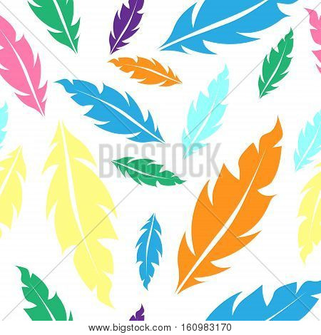 Seamless pattern with color feathers yellow blue green pink orange colors