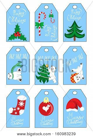 Xmas christmas new year holiday season gift tags set nine gift tags blue color with polar bears sock santa hat christmas tree holly and candy cane
