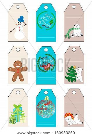 Xmas christmas new year holiday season gift tags set nine gift tags with polar bear greetings snowman ginger cookie and presents