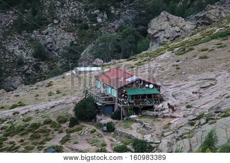 The view of Refuge d'Ortu di u Piobbu, Corse, France.