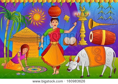 vector illustration of Happy Pongal festival celebration background