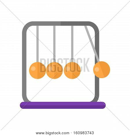 Newton's cradle vector in flat style. Devise for demonstration conservation of momentum and energy. Executive ball clicker. Illustration for scientific and educational concepts. Isolated on white