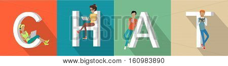 Chat concept web banner. Flat style vector. Communication in Internet. People characters with laptops, tablets and mobile phones interact online. For dating site, social network landing page design