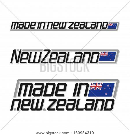 Vector illustration made in New Zealand, isolated zealander simple flags with union jack for independence day, national state flag and text new zealand on white, official ensign banner island country.