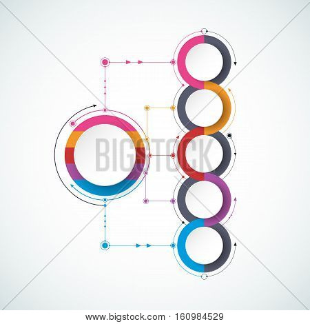 Vector molecule with 3D paper label, integrated circles background. Blank space for content, business, infographic, diagram, digital network, flowchart. Social network connection technology concept