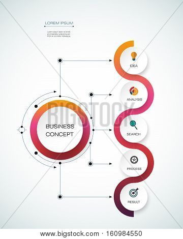 Vector infographic template with timeline 3D paper label integrated circles. Business concept with options. For content diagram flowchart steps parts timeline infographics workflow layout chart