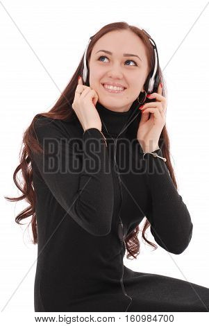 Portrait smiling teenage girl with headphones isolated on white