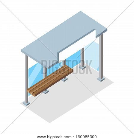 Urban bus stop. Public bus stop with shadow. Empty bus station with wooden bench. Bus stop icon. City isometric object in flat. Isolated vector illustration on white background.