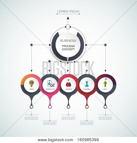 Vector infographic template with 3D paper label, integrated circles. Business process concept with options. For content diagram, flowchart, steps, parts, timeline, infographics, workflow, layout, chart, process