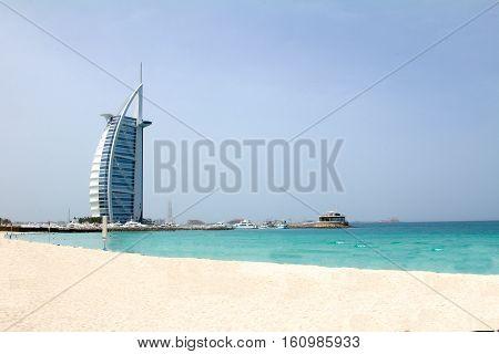 DUBAI, UAE - APRIL 16 2012: A clean shot of the Jumeirah beach with Burj Al Arab hotel in the background