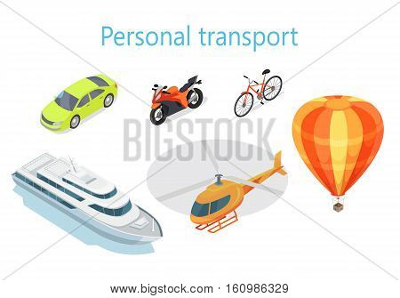 Personal transport infographic. Boat. Car. Motorcycle. Bicycle. Helicopter. Balloon. Statistics of transport usage. Shown amount of people use each type of transportation. Transport system vector