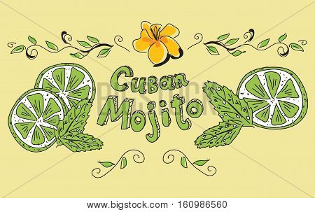 Mojito label template. Lettering Cuban Mojito with lime slices and mint leaves isolated on beige background. Hand drawn vector illustration.