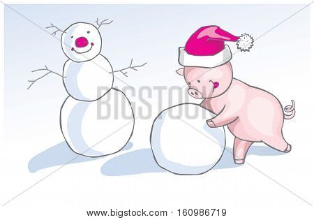 Vector christmas illustration of cute cartoon piglet in funny winter cap making a snowman.