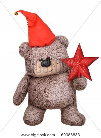 Plush Teddy bear toy in santa claus hat isolated on white background