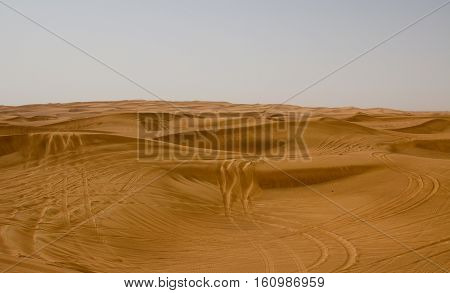 Desert area in Dubai, UAE. Tourists are often taken to this location for desert safaris and dune bashing