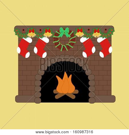 Fire place with christmas decoration. Vector illustration