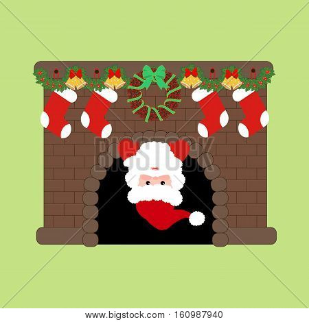 Santa Claus in fire place with christmas decorations. Vector illustration.