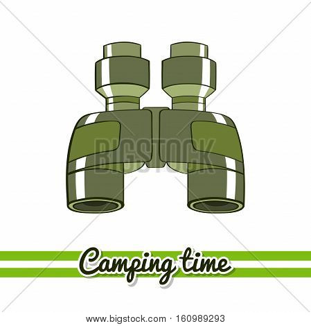 Hand drawn binoculars isolated on white background. One image of series Camping time. Vector illustration