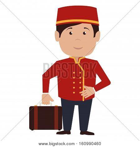 bellboy character hotel service icon vector illustration design