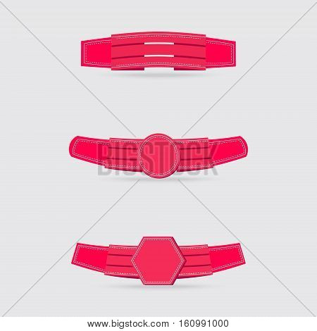 Set of the Bright Pink Ribbons Decorated with Dotted and Straight Lines on the Edges. Vector EPS 10