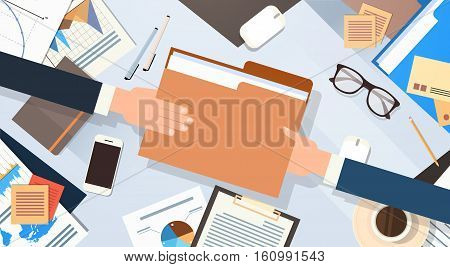 Hands Give Folder Document Papers Share Data Workplace Desk Office Stuff Top Angle View Flat Vector Illustration