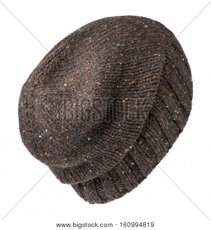 Hat Isolated On White Background .knitted Hat . Brown In A Multicolored Mottled Hat