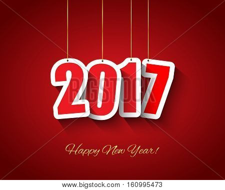 2017 New year background with hanging tags