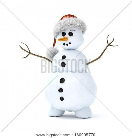 3d rendering of a cute litte snowman