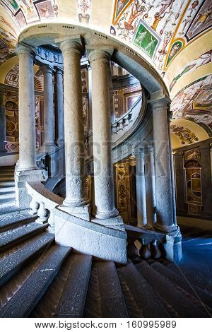 CAPRAROLA Italy - November 1 2016 -The SCALA REGIA the principal staircase of Villa Farnese in Caprarola Italy; a spiral of steps designed by Vignola and frescoed by Antonio Tempesta