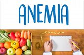 ANEMIA blood for Anemia test Medical Concept: Anemia Diagnosis Iron deficiency anemia ANEMIA Medicine doctor hand working Professional doctor aplastic anemia poster