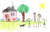 Happy family and their house through the eyes of a toddler poster