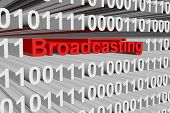 broadcasting in binary code background, 3D illustration poster