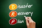 Hand drawn DRP - Disaster Recovery Plan acronym business concept on blackboard poster