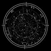 Astrological Celestial map of Northern Hemisphere. Horoscope on January 1, 2017 (00:00 GMT). Detailed chart with symbols and signs of Zodiac, planets, asteroids, etc. poster