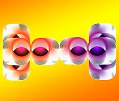 Abstract composition.Different colored geometric shapes on yellow background. poster