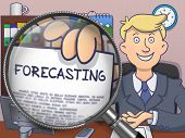 Forecasting. Man Holds Out a Paper with Concept through Lens. Colored Doodle Style Illustration. poster