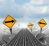 Many roads to success and clear group strategy and solutions for business leadership with straight multiple paths to success choosing the right strategic path with yellow traffic signs cutting through a maze of tangled roads and highways as a 3D illustrat poster