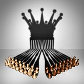 Concept of teamwork alliance and group leadership team and business organization idea as two sets of chess pieces joining working together united and as one in agreement to cast a shadow shaped as the crown of a king as a 3D illustration. poster