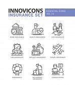 Types of Insurance - modern vector thin line flat design icons and pictograms set. Home, health, life, car, deposit, travel, retirement insurance, emergency, consultation poster