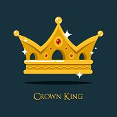 Blinking shiny king golden crown or crest. Imperial or emperor coronet or heraldic diadem design, antique queen or prince crown, monarch tiara.For medieval crown game award or gold headdress, royal sign poster