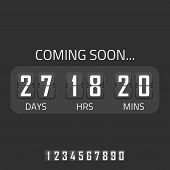 Flip Coming Soon illustration, countdown timer template. Opening soon for website template. Days, hours and minutes countdown in flip font. poster