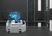 Render Futuristic interior. Hologram Brain. UI interface touchscreen poster