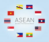 Vector illustration of ASEAN countries flags (Members of Association of Southeast Asian Nations). Clean flat style. Editable design elements for banner website presentation infographic map. Eps 10 poster