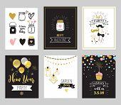 Chick Party glitter greeting cards and invitations. Gold hearts, speech bubbles, stars and other elements. Vector element, backgrounds. Gold, pink and blue sparkle, chic style poster