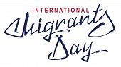 International Migrants Day. Lettering text of barbed wire. Isolated on white vector illustration poster