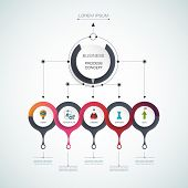 Vector infographic template with 3D paper label, integrated circles. Business process concept with options. For content diagram, flowchart, steps, parts, timeline, infographics, workflow, layout, chart, process poster