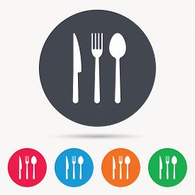 Fork, knife and spoon icons. Cutlery symbol. Colored circle buttons with flat web icon. Vector
