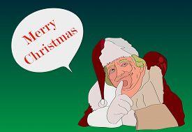 07 DEC, 2016, USA. US President Donald Trump Funny Christmas Portrait. Hand-drawing Donald Trump Greeting Card Vector Cartoon Caricature. Donald Trump Merry Christmas Greetings.